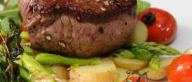 Salat mit Hüftsteak und Bratkartoffeln