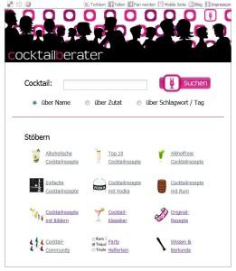 Startseite auf cocktailberater.de