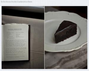 Rezept und fertige Schokoschokoladentorte (Quelle: photisserie.blogspot.de)