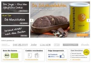 Farbenfroh und einladend kommt die Seite daher. (Quelle: www.knusperreich.de)
